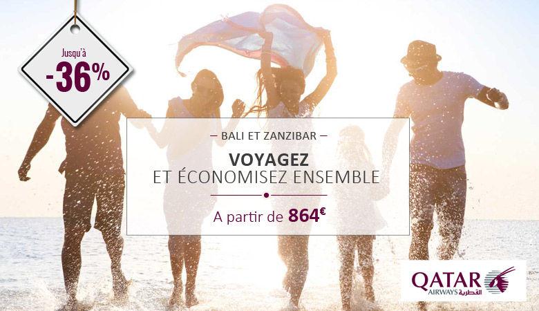 Voyagez et économisez ensemble avec Qatar dès 864€