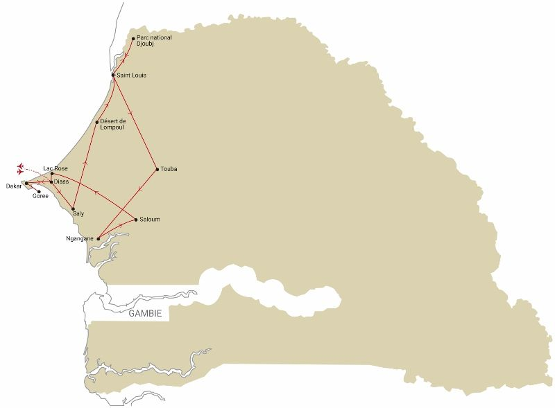 Carte Circuit Au Coeur du Senegal